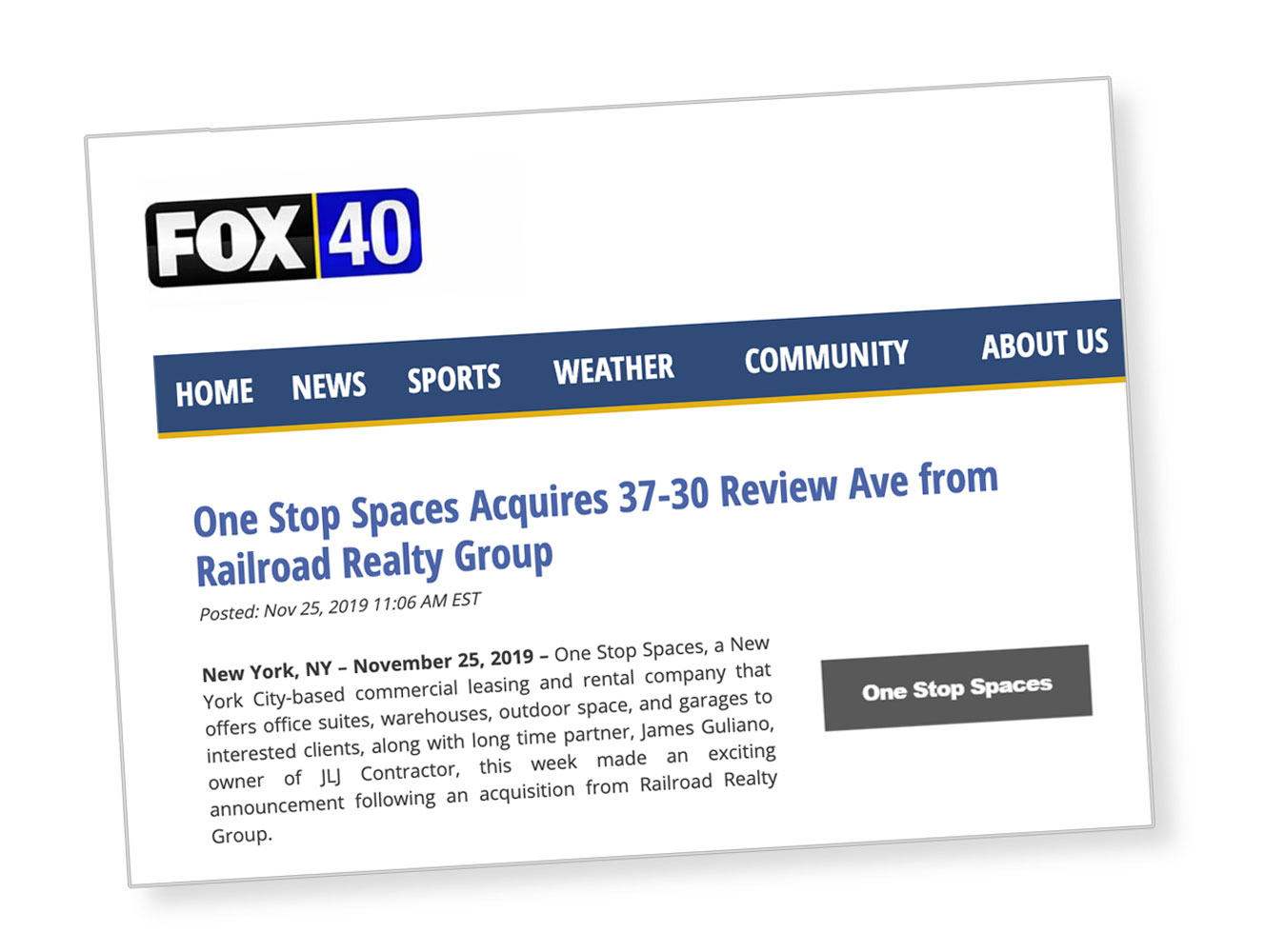 One Stop Spaces Acquires 37-30 Review Avenue from Railroad Realty Group